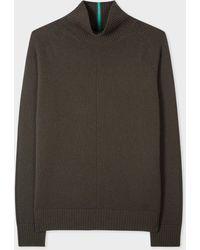 Paul Smith Khaki Funnel Neck Cashmere Sweater - Green