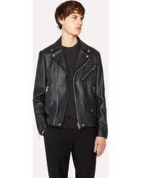 Paul Smith Black Leather Asymmetric-Zip Biker Jacket