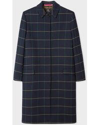 Paul Smith Navy Windowpane Check Cotton-blend Coat - Blue