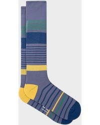 Paul Smith Grey Block Stripe 'a Sock To Travel In' - Gray