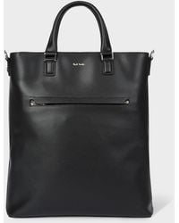 Paul Smith Black Embossed Leather Tote Bag With 'bright Stripe' Trim