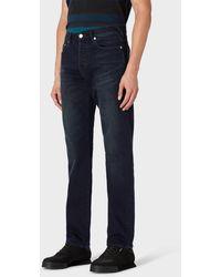 Paul Smith Standard-fit 'crosshatch Stretch' Navy Over-dye Jeans - Blue