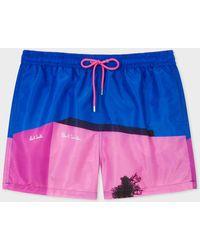 Paul Smith 'la Shop' Print Swim Shorts - Blue