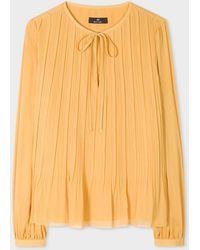 Paul Smith Women's Golden Yellow Tie-neck Top