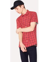 Paul Smith - Classic-Fit Red And Navy Check Cotton Short-Sleeve Shirt - Lyst