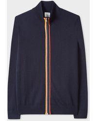Paul Smith Dark Navy Merino Wool 'artist Stripe' Zip-through Cardigan - Blue