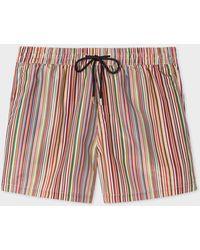 Paul Smith 'signature Stripe' Print Swim Shorts - Red