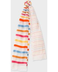 Paul Smith - Sheer Orange And Pink Stripe Cotton-blend Scarf - Lyst