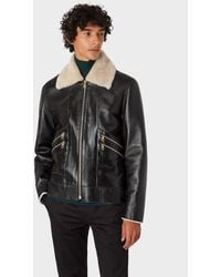 Paul Smith Black Shearling Flight Jacket With Buckle Waist Detail