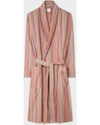 Paul Smith Signature Stripe Cotton Robe - Pink