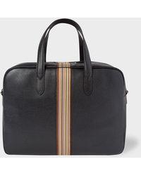 Paul Smith Black Leather Signature Stripe Weekend Bag
