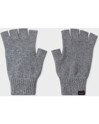 Paul Smith Grey Cashmere And Merino Wool Fingerless Gloves
