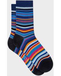 Paul Smith - Navy Multi-Coloured Stripe Socks - Lyst