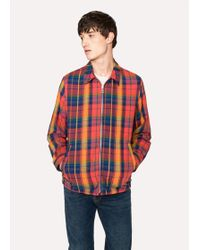 Paul Smith   Men's Red And Orange Check Cotton Jacket   Lyst