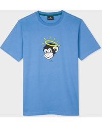 Paul Smith Blue 'angel Monkey' Print Organic-cotton T-shirt