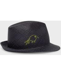 Paul Smith - Dark Navy 'Hello' And 'Bird' Embroidered Panama Straw Hat - Lyst