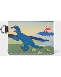 Paul Smith Multi-coloured 'dino' Leather Credit Card Holder - Blue