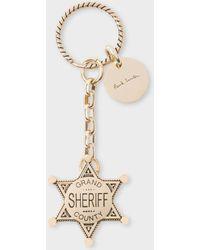 Paul Smith Men's Gold Sheriff Badge Keyring - Metallic
