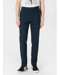 Paul Smith Mid-fit Navy Over-dyed Glen Check Chinos - Blue