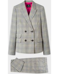 Paul Smith Grey Check Wool Double-breasted Suit - Gray