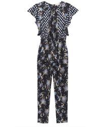 Rebecca Taylor Paisley Fleur Silk Twill Jumpsuit - Black