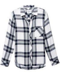 Rails Hunter White Navy Forest Shirt - Blue