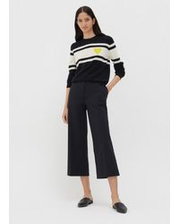 Chinti & Parker Navy Heart Stripe Wool-cashmere Jumper - Blue