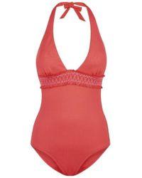 Heidi Klein Sofia Smocked Swimsuit - Red
