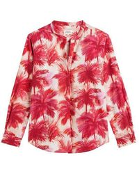 Hartford - Carta Red Palm Print Blouse - Lyst
