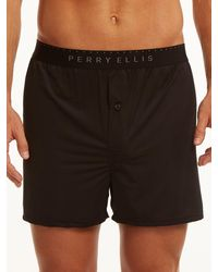 Perry Ellis Solid Luxe Boxer Short - Black