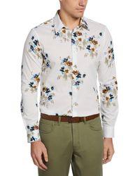 Perry Ellis Slim Fit Floral Print Shirt - White