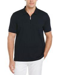 Perry Ellis Quarter Zip Ribbed Polo - Black