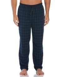 Perry Ellis Flannel Windowpane Sleep Pant - Blue