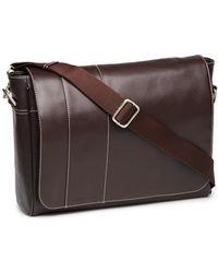 Perry Ellis - Leather Messenger Bag - Lyst