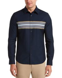 Perry Ellis Untucked Slim Fit Multi-color Chest Stripe Shirt - Blue