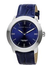 Perry Ellis Slim Line Navy Leather Watch - Blue