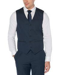 Perry Ellis Textured Solid Suit Vest - Blue