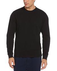 Perry Ellis Thermal Solid Sleep Shirt - Black