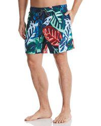 Perry Ellis Large Palm Print Swim Short - Blue