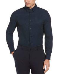 Perry Ellis Total Stretch Slim Fit Polka Dot Shirt - Blue