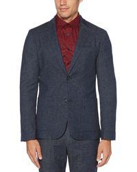 Perry Ellis Slim Fit Stretch Linen Suit Jacket - Blue