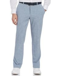 Perry Ellis Slim Fit Non-iron Heathered Stretch Dress Pant - Blue