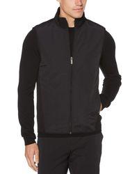 Perry Ellis Solid Stretch Full-zip Fleece Vest - Black