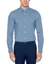 Perry Ellis Slim-fit Striped Shirt - Blue