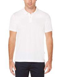 Perry Ellis Short Sleeve Textured Rib Polo - White