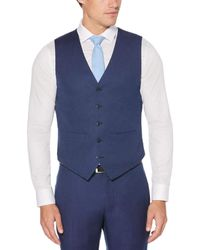 Perry Ellis Very Slim Fit Pindot Dobby Suit Vest - Blue
