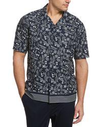 Perry Ellis Camp Collar Fruit Paradise Print Shirt - Black