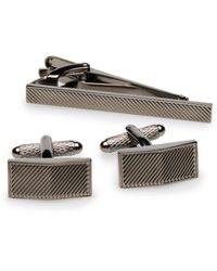 Perry Ellis - Diagonal Stripe Cufflink And Tie Bar Set - Lyst