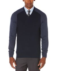 Perry Ellis - Colorblock V-neck Sweater - Lyst