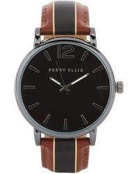 Perry Ellis Portfolio Gunmetal Stripe Watch Set - Multicolor